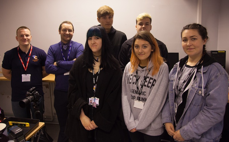 Jason Bould alongside staff and students of Penketh High digital photography.