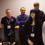 Jason Bould (ICT Coordinator) with Mark Billington (Head of Digital Arts) and students from Penketh HIgh.